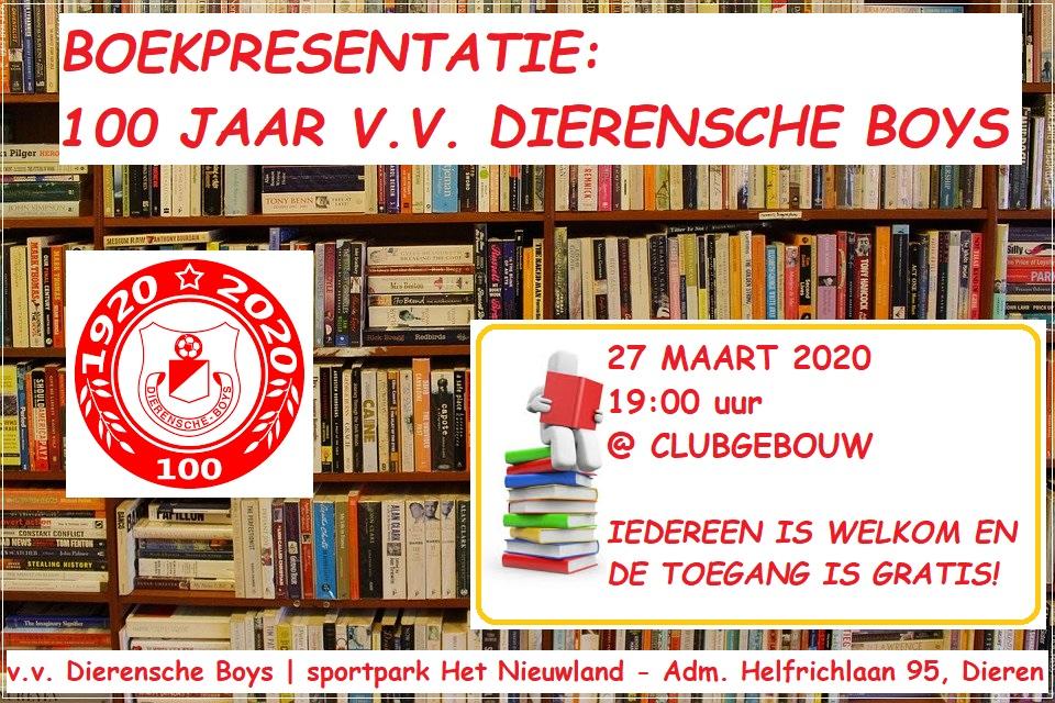 Boekpresentatie 100 jaar v.v. Dierensche Boys (vrijdag 27 maart 2020)